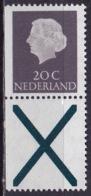 1968 Combinatie 20 Cent Grijs + Kruis Links Ongetand Gewoon Papier Uit PB 7 NVPH C 46 Postfris - Carnets Et Roulettes