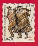 ITALIA REPUBBLICA USATO - 2014 - 200º Anniversario Arma Carabinieri - Pattuglia Nella Tormenta - € 0,70 - S. 3496 - 1946-.. Republiek