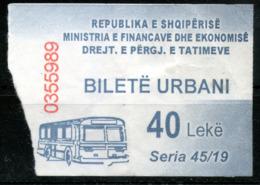 Bus Ticket 40 Leke From Albania,es Scan - Bus