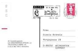 France 1991 Card: Nature Protection; 20 Eme Fete Ecologique; Ecological Meeting Aytre - Umweltschutz Und Klima