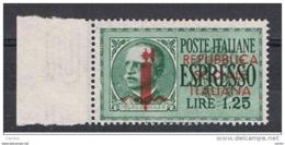 R.S.I. VARIETA':  1944  EX. SOPRASTAMPATO  -   £. 1,25  VERDE  N. -  C  DI  REPUBBLICA  COME  €.  -  C.E.I. 6 VR - 4. 1944-45 Repubblica Sociale