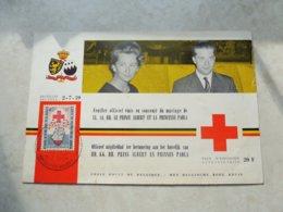 Timbre Belgique  Carte Souvenir Pr 125 Croix Rouge Perforé 1959 Emissions Privées - Belgium
