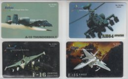 INDONESIA 2005 AVIATION A-10 THUNDERBOLT HELICOPTER APACHE AH64 F-16 FIGHTING FALCON F-15 EAGLE 4 CARDS - Aerei