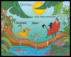 80205 Uganda Ouganda Le Roi Lion Lion's King Simba Timon Pumbaa Disney Bloc (BF) Neuf ** MNH - Disney