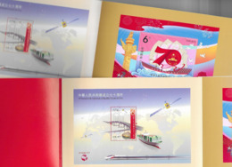 HONG KONG, 2019, MNH, 70th ANN.  OF  FOUNDING OF  PRC, TRAINS, SHIPS, BOOKLET WITH THREE SS FROM CHINA, MACAO, HONG KONG - Other