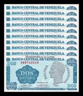 Venezuela Lot Bundle 10 Banknotes 2 Bolivares 1989 Pick 69 SC UNC - Venezuela