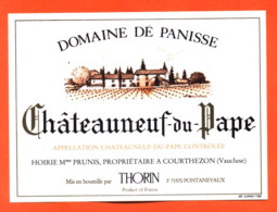 étiquette Vin De Chateauneuf Du Pape Domaine De Panisse J Thorin Prunis à Courthezon - 75 Cl - Vin De Pays D'Oc