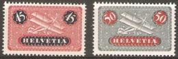 Schweiz Suisse 1935/3: Biplane Zu F 8z+9z Geriffelt Mi 183z+184z Yv PA 8+9 Papier Grillé ** MNH (Zu CHF 8.50) - Neufs