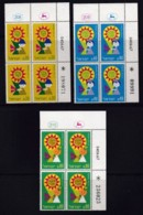 ISRAEL, 1967, Cylinder Blocks Without Tabs Of Mint Stamps, Tourist Year, SG369-371, X1043 - Blocks & Kleinbögen