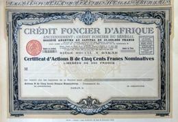 Crédit Fonçier D'Afrique, Certificat D'Actions B - Bank & Insurance