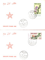 """Maroc, 2 FDC 1965;YT N°481/482 """" Fleurs,flowers """"Morocco;Marruecos - Marokko (1956-...)"""