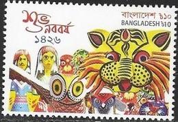 BANGLADESH,  2019, MNH, CELEBRATIONS,  NEW YEAR, STYLIZED TIGERS, BIRDS,1v - New Year