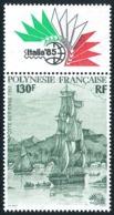 POLYNESIE 1985 - Yv. PA 189 ** Avec Vignette  Cote= 5,50 EUR - Expo Phil. Intern. Italia'85  ..Réf.POL24456 - Poste Aérienne