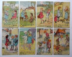 8 CHROMOS 1920 ...SHAMPOING .ANTI POUX .... LA MILANAISE...DESSINS DE POULBOT....SCENES.. ENFANTS ..POUPÉE...etc - Trade Cards