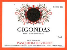 étiquette Vin De Gigondas Récolte 1982 Pasquier Desvignes à Saint Lager - 75 Cl - Vin De Pays D'Oc