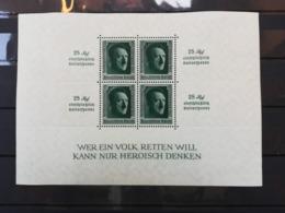 GERMAN EMPIRE 1937 Hitler - Minisheet 25 Rpf - Einschliesslich - Kultuespende - Deutschland