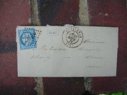 1872 Lettre Cachet Type 16 Arrivee Charly Sur Lettre Perpignan Obliteration Gros Chiffre 2818 - Marcophilie (Lettres)