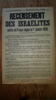 """Affiche Pliée """"1936 Préfecture De La Drome. Recensement Des Israëlites...."""" 42x62 Reynart & Deloche Valence TB - Wetten & Decreten"""
