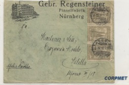 GERMANY Spectacular 1923 COVER With MULTIPLE POSTAGE - 21 Stamps - NÚRNBERG To MELILLA, SPAIN - AD From A BRUSH FACTORY - Duitsland