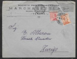 Italy 1922 Commercial Cover - Verona To Zurich Switzerland - Marcophilia