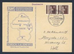 Deutschland Germany 1972 Karte Card - BVV 1972 - Bundesbahn-Sozial-Werk, Bez. Frankfurt/M , Lorsch, Hess - Treinen
