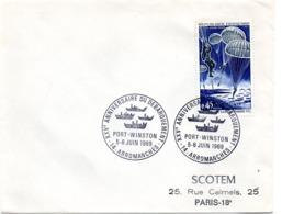 MARINE = 14 ARROMANCHES 1969 = CACHET CONCORDANT N° 1603 Illustré ' XXVe ANNIVERSAIRE DEBARQUEMENT PORT WINSTON  ' - Cachets Commémoratifs