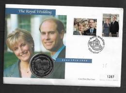 GIBRALTAR 1999 ROYAL WEDDING COIN ON FDC - Gibraltar