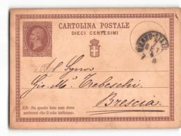 16595 01 CARTOLINA POSTALE 10 CENTESIMI -   MILANO X BRESCIA 1874 - 1861-78 Victor Emmanuel II.