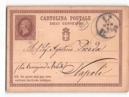 16921 02 CARTOLINA POSTALE 10 CENTESIMI - PER NAPOLI  1874 - 1861-78 Victor Emmanuel II.