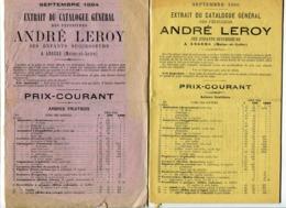 2 Catalogues Des Pépinières André Leroy à Angers 1884 Et 1886 - Agriculture
