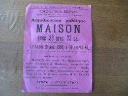 """DOURLERS """"MONT-DOURLERS"""" LE 10 AOUT 1959 ADJUDICATION PUBLIQUE MAISON AVEC 33 Ares 73ca 40cm/30cm - Plakate"""