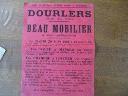 DOURLERS LE 20 JUIN 1961 SALLE DES FÊTES BEAU MOBILIER A VENDRE PUBLIQUEMENT 40cm/30cm - Plakate