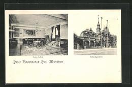 AK München, Hotel Rheinischer Hof, Schwanthaler Strasse 13, Lese-Salon, Schackgalerie - Muenchen