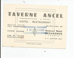 TAVERNE ANCEL   HOTEL RESTAURANT  GERARDMER - Cartes De Visite