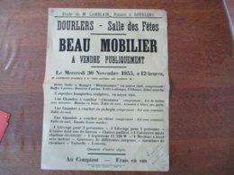 DOURLERS LE 30 NOVEMBRE 1955 SALLE DES FÊTES BEAU MOBILIER A VENDRE PUBLIQUEMENT 40cm/30cm - Plakate