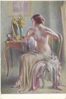 FEMME SEINS NUS DEVANT MIROIR - SALON DE PARIS - D. ENJOLRAS - LES PERLES - Autres Illustrateurs