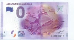 2016 BILLET TOURISTIQUE 0 Euro   Aquarium De Saint Malo   Dpt 35  Port 1.30 - EURO