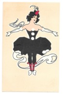 CPA ART NOUVEAU SOCKL VIENNE SERIE COQUETTE ROBE NOIRE RARE!!! - Illustratoren & Fotografen