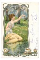 CPA ART NOUVEAU FEMME FLEUR NENUPHAR ECREVISSE SERIE 376 LE TOUCHER - 1900-1949