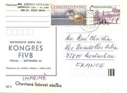 1986 Congrès De La Fédération Internationale De Volley Ball :Prague (entier Postal) - Voleibol