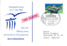 """(Bu-B4) BRD Sonder-Karte """"Volksabstimmung über Ein Gemeins. Bundesland BERLIN-BRANDENBURG"""" EF Mi 1739 SST 3.9.96 BERLIN - [7] Repubblica Federale"""