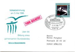 """(Bu-B4) BRD Sonder-Umschl """"Volksabstimmung über Ein Gemeins. Bundesland BERLIN-BRANDENBURG"""" EF Mi 1830 SST 3.9.96 BERLIN - [7] Repubblica Federale"""