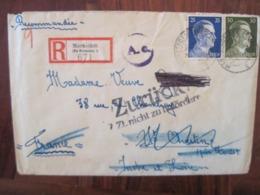 Allemagne France 1944 Zurück LAGER Censure Lettre Enveloppe Cover Deutsches Reich DR STO Reco Recommandé - Marcofilie (Brieven)