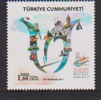 TURKEY,  2017, MNH, PETROL CONGRESS, BRIDGES, MOSQUES, TRAMS , FLOWERS, 1v - Oil