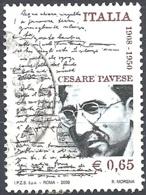 Italia, 2008 Cesare Pavese, 0.65€ Multi # Sassone 3056 - Michel 3265 - Scott 2896  USATO - 6. 1946-.. Repubblica