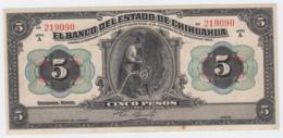 Mexico 5 Pesos Estado De Chihuahua Dec 12, 1913 VF+ - Mexico
