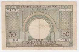 Morocco 50 Francs 2-12- 1949 VF Pick 44 - Marocco