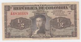 Colombia 1/2 Peso 1948 VF++ Pick 345 - Colombia