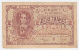 Belgium 2 Francs 1916 Fine Pick 87 - Other
