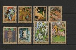 Ajman 1971 Nude Paintings Paul Gauguin, Renoir, Cezanne Etc. Set Of 8 MNH - Naakt